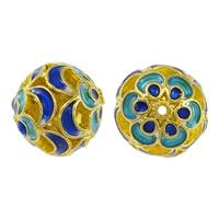Glatte Cloisonné Perlen, rund, Bläu, hohl, frei von Nickel, Blei & Kadmium, 11x12mm, Bohrung:ca. 1mm, 10PCs/Menge, verkauft von Menge