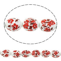 Kunstdruck Porzellan Perlen, oval, mit Blumenmuster & zweifarbig, 17x13mm, Bohrung:ca. 3mm, Länge:ca. 13.5 ZollInch, 5SträngeStrang/Menge, ca. 20PCs/Strang, verkauft von Menge