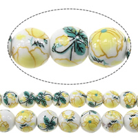 Kunstdruck Porzellan Perlen, rund, verschiedene Größen vorhanden & mit Blumenmuster, Bohrung:ca. 2mm, verkauft von Menge