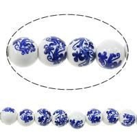 Kunstdruck Porzellan Perlen, rund, mit Blumenmuster & zweifarbig, 10mm, Bohrung:ca. 2mm, Länge:ca. 13.5 ZollInch, 5SträngeStrang/Menge, ca. 35PCs/Strang, verkauft von Menge