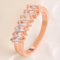 Zinklegierung Fingerring , mit Kristall, echtes Rósegold plattiert, verschiedene Größen vorhanden & facettierte, frei von Nickel, Blei & Kadmium, 17mm, verkauft von PC