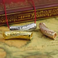Befestiger Zirkonia Sterlingsilber Perlen, 925 Sterling Silber, gebogenes Rohr, plattiert, Micro pave Zirkonia & hohl, gemischte Farben, 27x7.60mm, Bohrung:ca. 2-3mm, 5PCs/Menge, verkauft von Menge