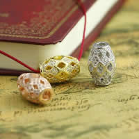 Befestiger Zirkonia Sterlingsilber Perlen, 925 Sterling Silber, oval, plattiert, Micro pave Zirkonia & hohl, gemischte Farben, 10.40x16mm, Bohrung:ca. 2-3mm, 3PCs/Menge, verkauft von Menge