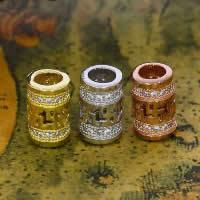Befestiger Zirkonia Sterlingsilber Perlen, 925 Sterling Silber, Zylinder, plattiert, Micro pave Zirkonia & hohl, gemischte Farben, 6x9.90mm, Bohrung:ca. 3-5mm, 10PCs/Menge, verkauft von Menge