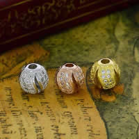 Befestiger Zirkonia Sterlingsilber Perlen, 925 Sterling Silber, rund, plattiert, Micro pave Zirkonia & hohl, gemischte Farben, 9.70x7.50mm, Bohrung:ca. 1-2mm, 10PCs/Menge, verkauft von Menge