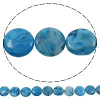 Natürliche verrückte Achat Perlen, Verrückter Achat, flache Runde, blau, 22x5mm, Bohrung:ca. 1mm, Länge:ca. 15 ZollInch, 5SträngeStrang/Tasche, ca. 18PCs/Strang, verkauft von Tasche