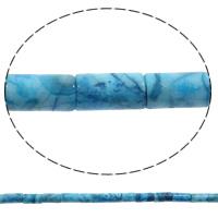 Natürliche verrückte Achat Perlen, Verrückter Achat, Rohr, blau, 8x16mm, Bohrung:ca. 1mm, Länge:ca. 15 ZollInch, 5SträngeStrang/Tasche, ca. 25PCs/Strang, verkauft von Tasche