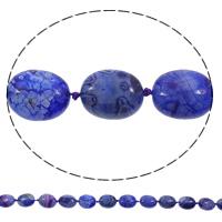Natürliche Crackle Achat Perlen, Geknister Achat, oval, blau, 15x19x10mm, Bohrung:ca. 1mm, Länge:ca. 15 ZollInch, 5SträngeStrang/Tasche, ca. 18PCs/Strang, verkauft von Tasche