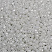 Ceylon Glas-Rocailles, rund, verschiedene Größen vorhanden, weiß, Bohrung:ca. 1mm, verkauft von Tasche