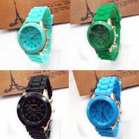 Damen Armbanduhr, Zinklegierung, mit Glas & Silikon, plattiert, einstellbar, keine, frei von Nickel, Blei & Kadmium, 39x7mm, 20mm, Länge:ca. 9.5 ZollInch, verkauft von PC