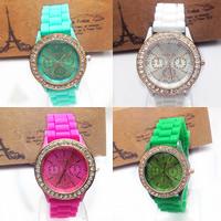 Damen Armbanduhr, Zinklegierung, mit Glas & Silikon, plattiert, einstellbar & mit Strass, keine, frei von Nickel, Blei & Kadmium, 39x8mm, 20mm, Länge:ca. 9.5 ZollInch, verkauft von PC