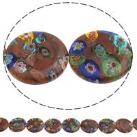 Goldsand Millefiori Glasperlen, flache Runde, handgemacht, verschiedene Größen vorhanden, Bohrung:ca. 1mm, Länge:ca. 14.5 ZollInch, verkauft von Tasche