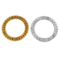 Zinklegierung Verbindungsring, Kreisring, plattiert, mit Strass, keine, frei von Nickel, Blei & Kadmium, 27x2mm, Bohrung:ca. 19mm, 10PCs/Tasche, verkauft von Tasche