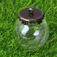 Glas Glassturz Anhänger, mit Zinklegierung, antike Bronzefarbe plattiert, klar, frei von Nickel, Blei & Kadmium, 25mm, Bohrung:ca. 2mm, 50PCs/Menge, verkauft von Menge