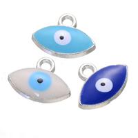 Evil Eye Anhänger, Zinklegierung, blöser Blick, silberfarben plattiert, Emaille, keine, frei von Nickel, Blei & Kadmium, 17x13mm, Bohrung:ca. 2.8mm, 500PCs/Menge, verkauft von Menge