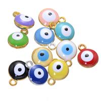 Evil Eye Anhänger, Zinklegierung, blöser Blick, plattiert, Emaille, keine, frei von Nickel, Blei & Kadmium, 10x13mm, Bohrung:ca. 2mm, 500PCs/Menge, verkauft von Menge