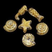 Golddruck Acryl Perlen, transparent, 6x16x5mm-12x12x4mm, Bohrung:ca. 1mm, ca. 1600PCs/Tasche, verkauft von Tasche