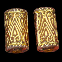 Golddruck Acryl Perlen, Rohr, transparent, rot, 8x17mm, Bohrung:ca. 4mm, ca. 600PCs/Tasche, verkauft von Tasche