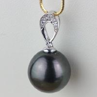 Tahiti Perlen Anhänger, mit Messing, rund, natürlich, Micro pave Zirkonia, schwarz, 11.2x22mm, Bohrung:ca. 3-5mm, verkauft von PC