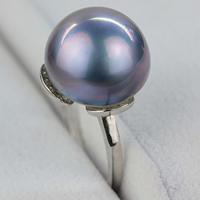 Mabe-Perle Fingerring, mit Messing, Dom, natürlich, dunkelviolett, 13.5-14mm, Größe:6.5, verkauft von PC