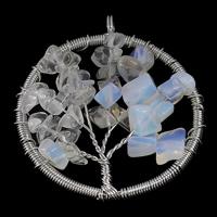 Opal Anhänger, mit Messing, Baum des Lebens, Platinfarbe platiniert, frei von Nickel, Blei & Kadmium, 47x53x8mm, Bohrung:ca. 5mm, 10PCs/Menge, verkauft von Menge
