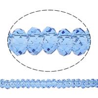 European Kristall Perlen, Rondell, ohne troll, heller Saphir, 14x7mm, Bohrung:ca. 6mm, 50PCs/Strang, verkauft per 14 ZollInch Strang