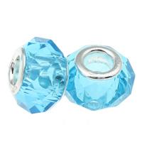European Kristall Perlen, Rondell, Sterling Silber-Dual-Core ohne troll, Aquamarin, 14x8mm, Bohrung:ca. 5mm, 20PCs/Tasche, verkauft von Tasche