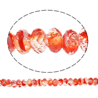 European Kristall Perlen, Millefiori Kristall, Rondell, ohne troll, rote Orange, 14x7mm, Bohrung:ca. 6mm, 50PCs/Strang, verkauft per 14 ZollInch Strang