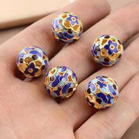 Cloisonne Perlen, Cloisonné, rund, vergoldet, hohl, frei von Blei & Kadmium, 14.4mm, Bohrung:ca. 1mm, verkauft von PC