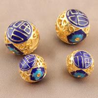 Cloisonne Perlen, Cloisonné, rund, vergoldet, verschiedene Größen vorhanden & hohl, frei von Blei & Kadmium, Bohrung:ca. 3mm, verkauft von PC