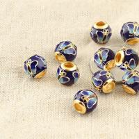 Cloisonne Perlen, Cloisonné, Trommel, vergoldet, frei von Blei & Kadmium, 10.8x10.4mm, Bohrung:ca. 4mm, verkauft von PC