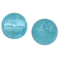 Silberfolie Lampwork Perlen, rund, handgemacht, verschiedene Größen vorhanden, hellblau, Bohrung:ca. 2mm, verkauft von Tasche