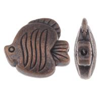 Zinklegierung Tier Perlen, Fisch, antike Kupferfarbe plattiert, frei von Blei & Kadmium, 18x17.50x6.50mm, Bohrung:ca. 1mm, ca. 100G/Tasche, verkauft von Tasche