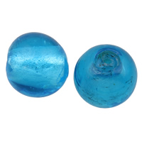 Silberfolie Lampwork Perlen, rund, handgemacht, verschiedene Größen vorhanden, seeblau, Bohrung:ca. 2mm, 100PCs/Tasche, verkauft von Tasche