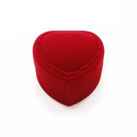 Baumwollsamt Einzelring Kasten, mit Kleber Film, Herz, rot, 43x45x32mm, verkauft von PC