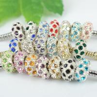 Strass Perlen European Stil, Zinklegierung, Rondell, Platinfarbe platiniert, ohne troll & mit Strass, keine, frei von Nickel, Blei & Kadmium, 10x5mm, Bohrung:ca. 5mm, 100PCs/Menge, verkauft von Menge