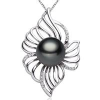 Tahiti Perlen Anhänger, mit Messing, Blume, natürlich, Micro pave Zirkonia, schwarz, 10-11mm, Bohrung:ca. 3-7mm, verkauft von PC