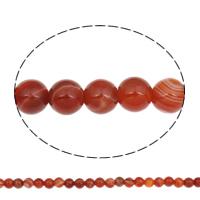 Natürliche Streifen Achat Perlen, rund, rot, 8mm, Bohrung:ca. 1mm, ca. 48PCs/Strang, verkauft per ca. 14.8 ZollInch Strang