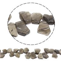 Natürliche graue Achat Perlen, Grauer Achat, 17x14x6mm-25x22x8mm, Bohrung:ca. 1mm, ca. 32PCs/Strang, verkauft per ca. 16 ZollInch Strang