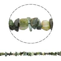 Natürliche Moos Achat Perlen, 4-17mm, Bohrung:ca. 1mm, ca. 63PCs/Strang, verkauft per ca. 16.1 ZollInch Strang