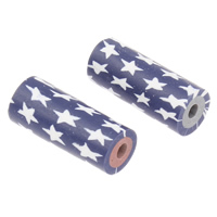 Polymer Ton Perlen , Zylinder, handgemacht, mit einem Muster von Stern, gemischte Farben, 7x18mm, Bohrung:ca. 2mm, 10PCs/Tasche, verkauft von Tasche
