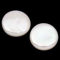 Kein Loch Süßwasser Zuchtperlen, Natürliche kultivierte Süßwasserperlen, Münze, natürlich, weiß, 15-17mm, 10PaarePärchen/Tasche, verkauft von Tasche