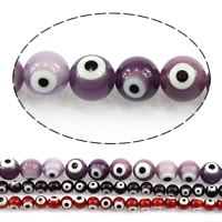 Böser Blick Lampwork Perlen, rund, böser Blick- Muster & verschiedene Größen vorhanden, keine, verkauft von Menge