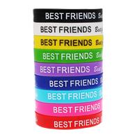 Silikon Armbänder, Wort bester Freund, Kunstdruck, verschiedene Größen vorhanden, gemischte Farben, 10SträngeStrang/Tasche, verkauft von Tasche
