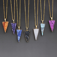 Druzy Halskette, Natürlicher Quarz, mit Eisen, Dreieck, goldfarben plattiert, natürliche & druzy Stil & Oval-Kette, keine, 20x40x6mm-23x45x11mm, verkauft per ca. 18 ZollInch Strang