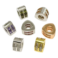 Messing European Perlen, plattiert, ohne troll & mit kubischem Zirkonia, keine, frei von Nickel, Blei & Kadmium, 6x9.50mm, Bohrung:ca. 4.5mm, 10PCs/Menge, verkauft von Menge