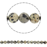 Dalmatinische Perlen, Dalmatiner, rund, synthetisch, verschiedene Größen vorhanden, Bohrung:ca. 1mm, verkauft per ca. 15 ZollInch Strang