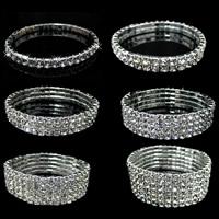 Zinklegierung Armband, Platinfarbe platiniert, elastisch & verschiedene Größen vorhanden & mit Strass, frei von Nickel, Blei & Kadmium, Länge:ca. 5 ZollInch, 3SträngeStrang/Menge, verkauft von Menge