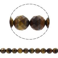 Tigerauge Perlen, rund, synthetisch, verschiedene Größen vorhanden & facettierte, Bohrung:ca. 1mm, verkauft per ca. 15 ZollInch Strang