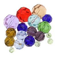 Runde Kristallperlen, Kristall, verschiedene Größen vorhanden & facettierte, gemischte Farben, verkauft von Tasche